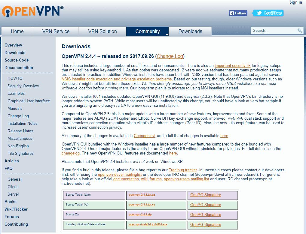 Скачаем программу OpenVPN с официального сайта